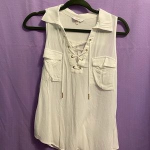 White Lace Up Tank Too